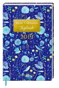 Cover von Mein 3 Minuten Tagebuch 2019 (Blaue Blumen)